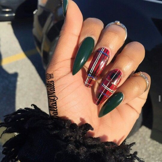 Plaid Coffin Stiletto Nails Plaid Nails Christmas Nails Acrylic Green Nails