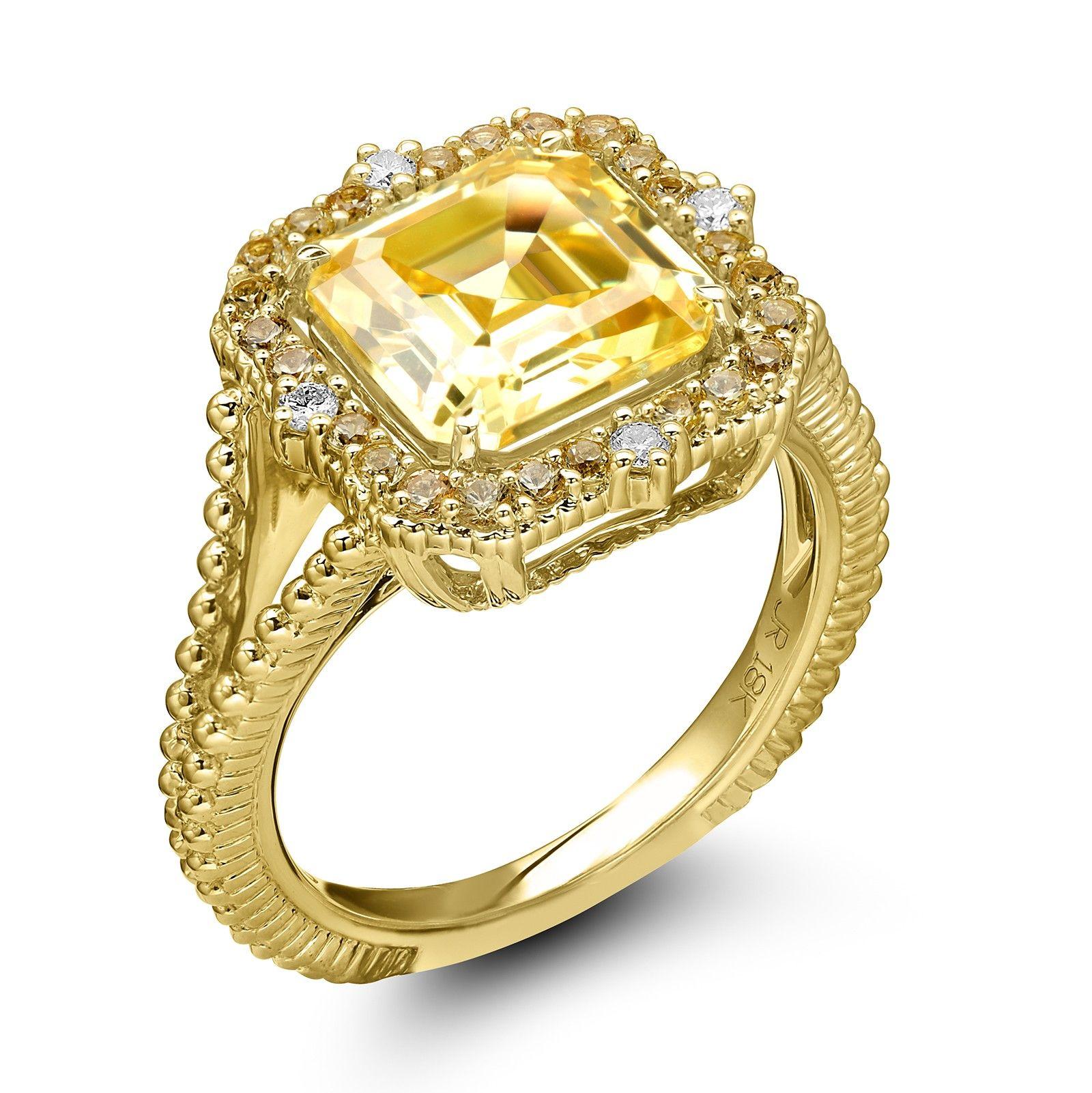 Judith Ripka 18KYG Lila Asscher Canary Crystal Yellow Sapphire