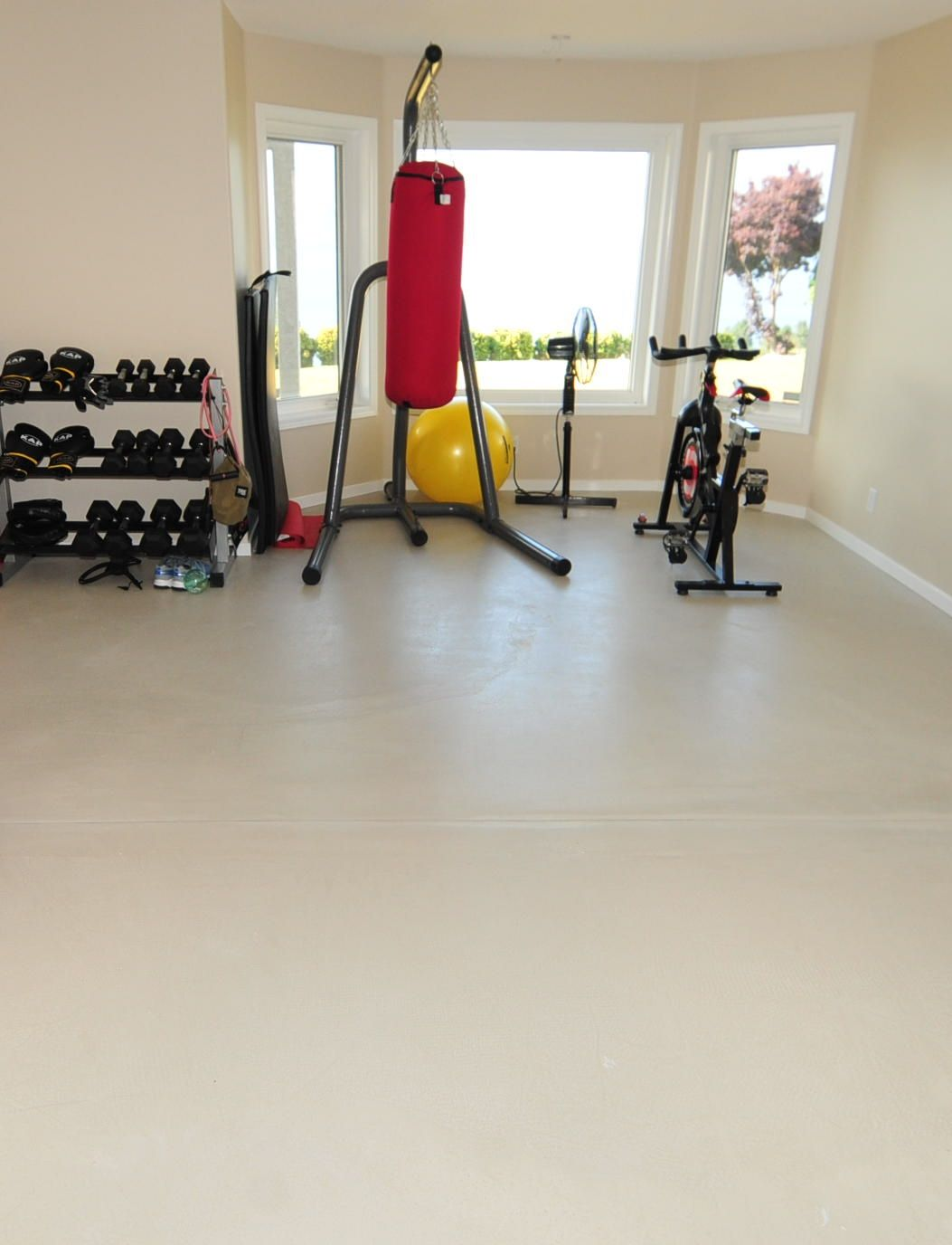 Home Gym With Concrete Floor Overlay Created By Mode Concrete In Kelowna Bc Home Gym Design Gym Design Concrete Decor
