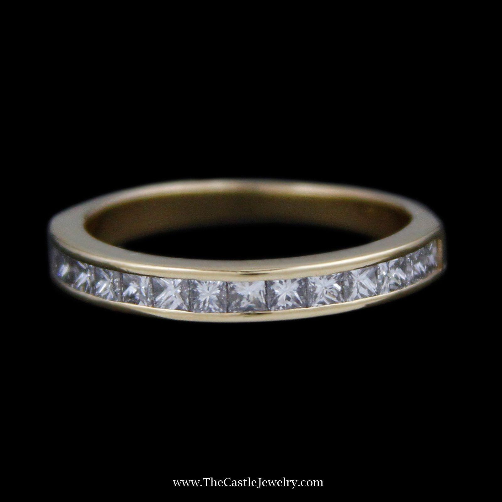 Tiffany u co channel set princess cut cttw diamond wedding band