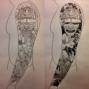 Black Ink Samurai Head With Koi Fish And Flowers Tattoo Design For Full Sleeve Tattoo Japanese Style Japanese Sleeve Tattoos Tattoos