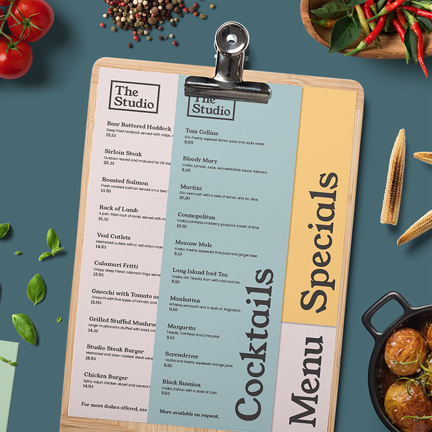 the studio - a cool and contemporary menu design from the print