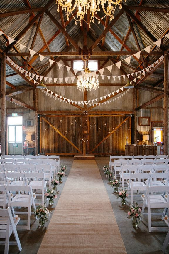 30 Romantic Indoor Barn Wedding Decor Ideas with Lights | http://www ...