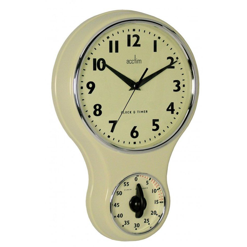 acctim vintage retro cream kitchen wall clock with kitchen timer vintage machines pinterest kitchen wall clocks cream kitchen walls and wall clocks. beautiful ideas. Home Design Ideas