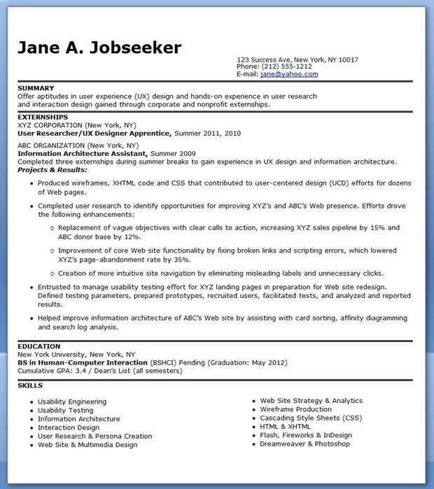 UX Designer Resume (Entry-Level) Creative Resume Design - examples of internship resumes