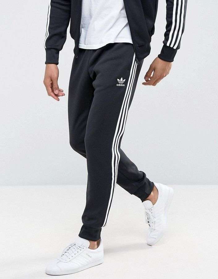 adidas Superstar Cuffed Track Pants In Black
