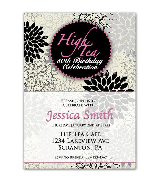 High Tea Birthday Celebration Silver Pink Invitation flower burst – 50th Birthday Invitations Printable