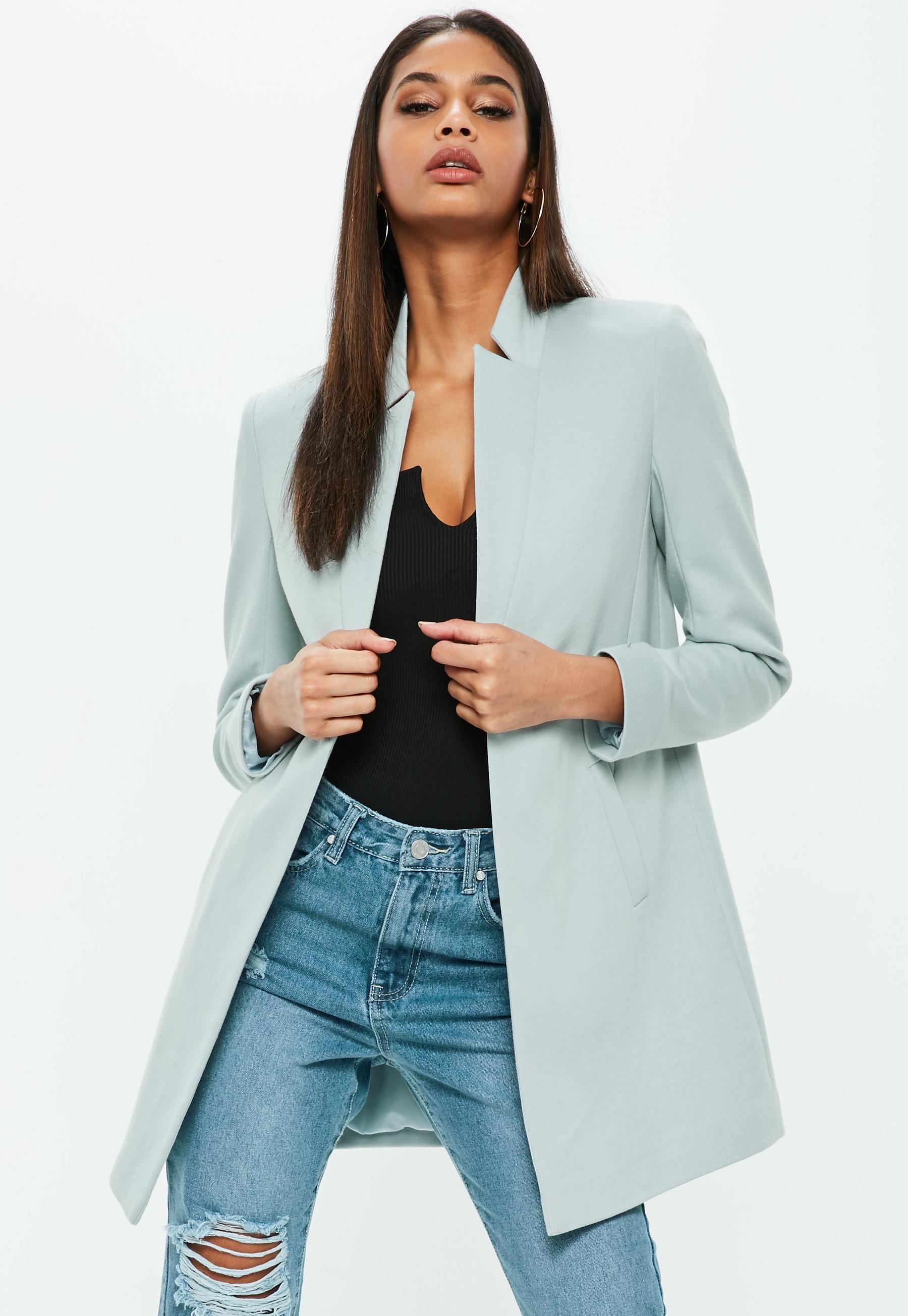 Blue Notch Collar Formal Coat Missguided Australia