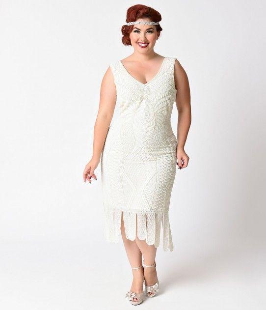 53d3058bdd3 Unique Vintage Plus Size 1920s Style Ivory Beaded Sleeveless Hawkins Flapper  Dress