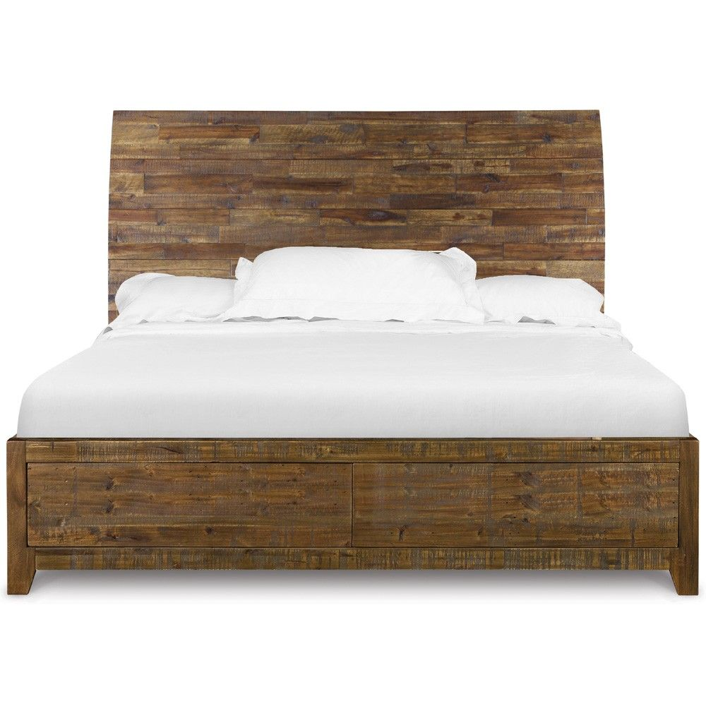 River Ridge Wood Island Bed In Distressed Natural By Magnussen Home King Size