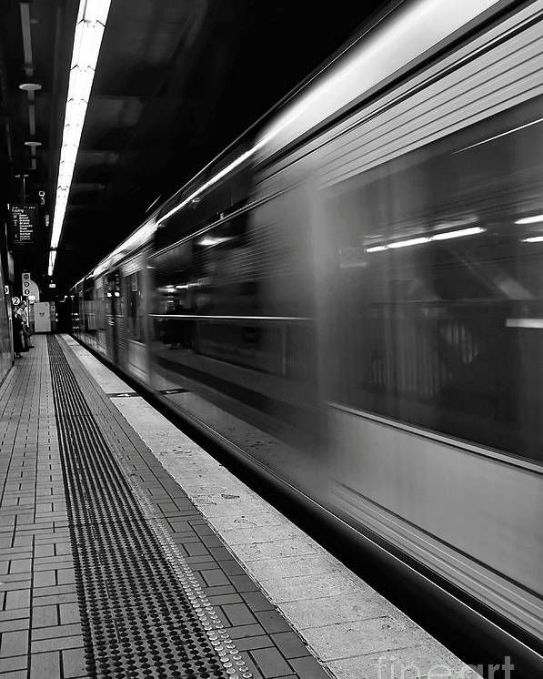 Fast Train - Black and White Poster by Kaye Menner