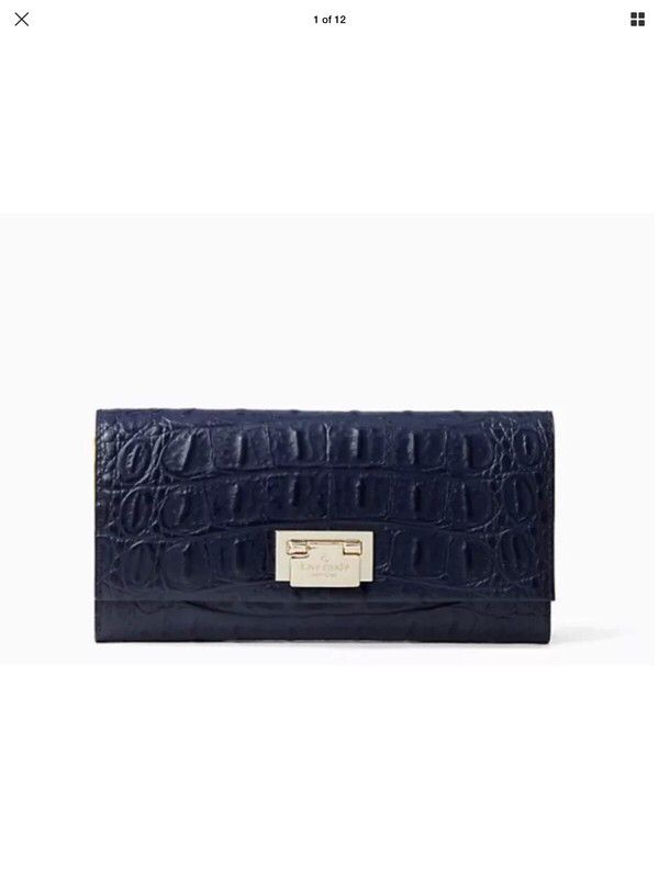 a2c858883179 Kate Spade Cindy Croc Embossed Navy Wallet Organizer NWT | Emboss ...