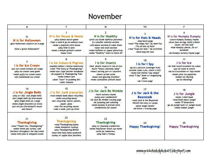 LESSON PLANS: Preschool - November.pdf   Lesson plan   Pinterest