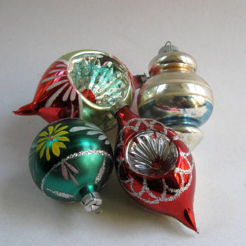 vintage christmas ornaments glass balls 1950s hand by dodadchick - 1950s Christmas Decorations