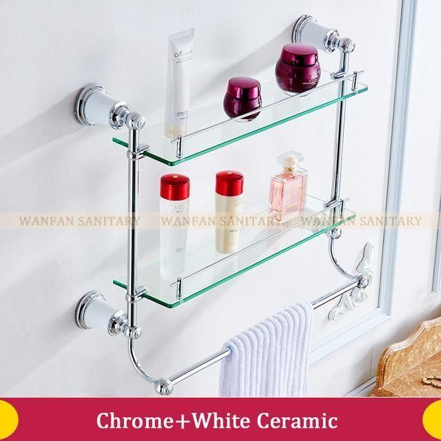 Buy Bathroom Shelves Double Tempered Glass Rack Gold Brass Towel Bar