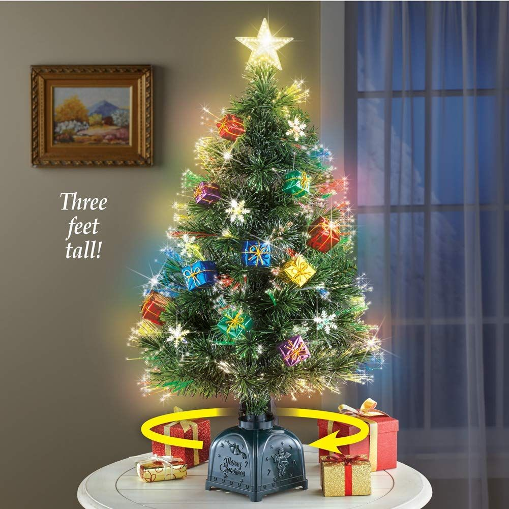 Collections Etc Rotating Tabletop Christmas Tree With Fiber Optic Lights Presents Ornamentation Rotating Christmas Tree Fashion Christmas Tree Xmas Tabletop