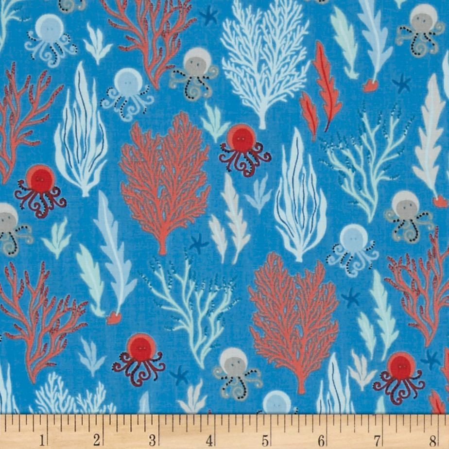Come Dive with Me Sea Creatures Light Blue from @fabricdotcom Designed by  Whistler Studios for
