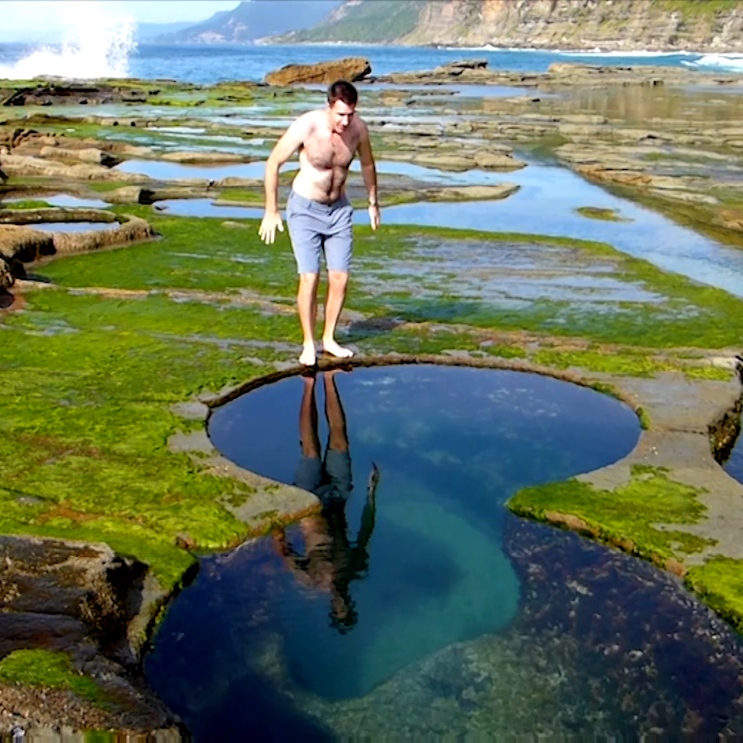 THE FIGURE 8 POOLS outside of Sydney, Australia are a naturally formed geologic wonder. The rock platform on the ocean's edge has eroded to form circular pools with a few shaped as perfect Figure 8's. They are deep enough to jump into.