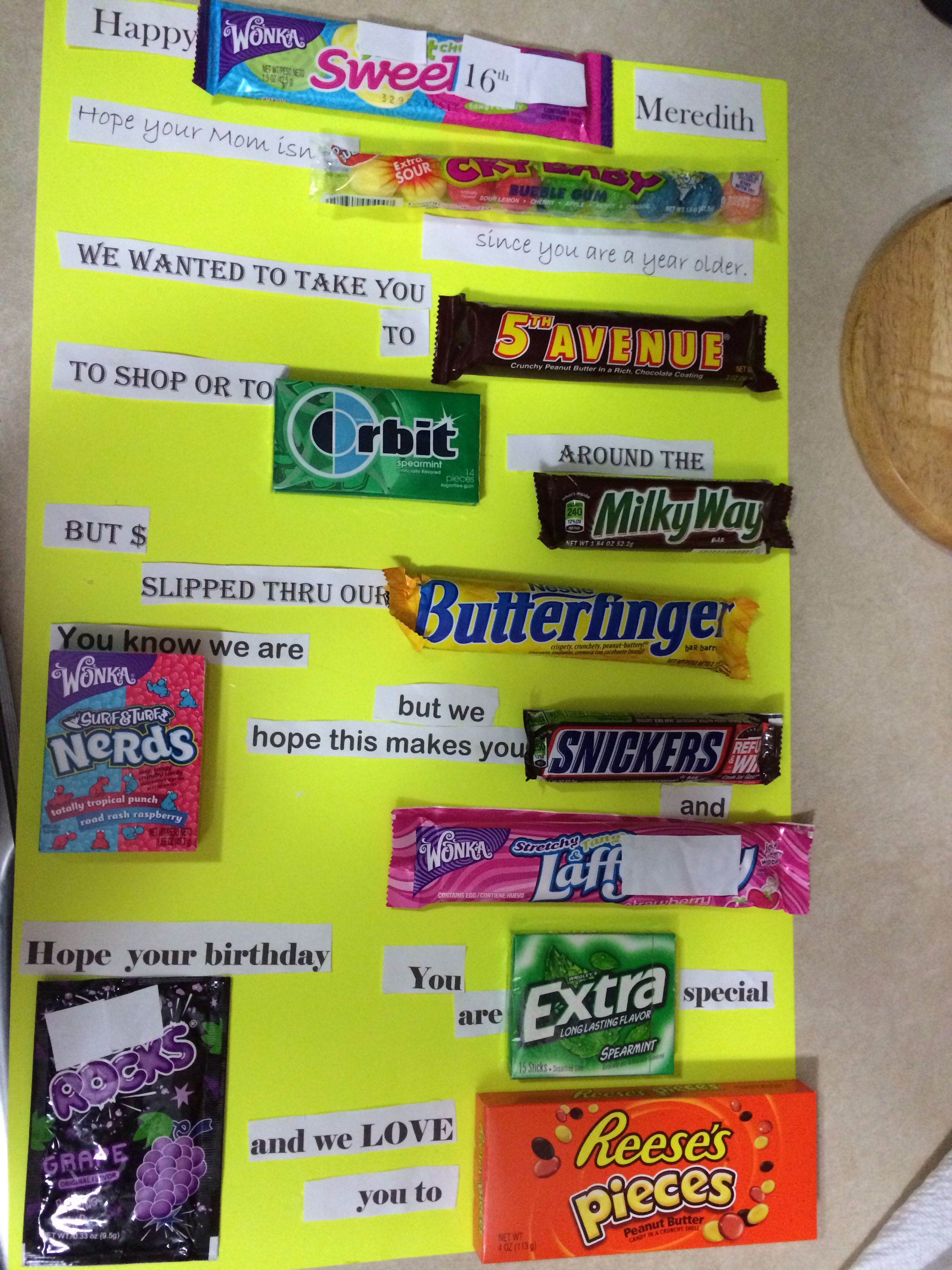 Pin By Erin Dunn On Crafts I Ve Made Sweet 16 Gifts Sweet 16 Birthday Gifts Birthday Candy Posters