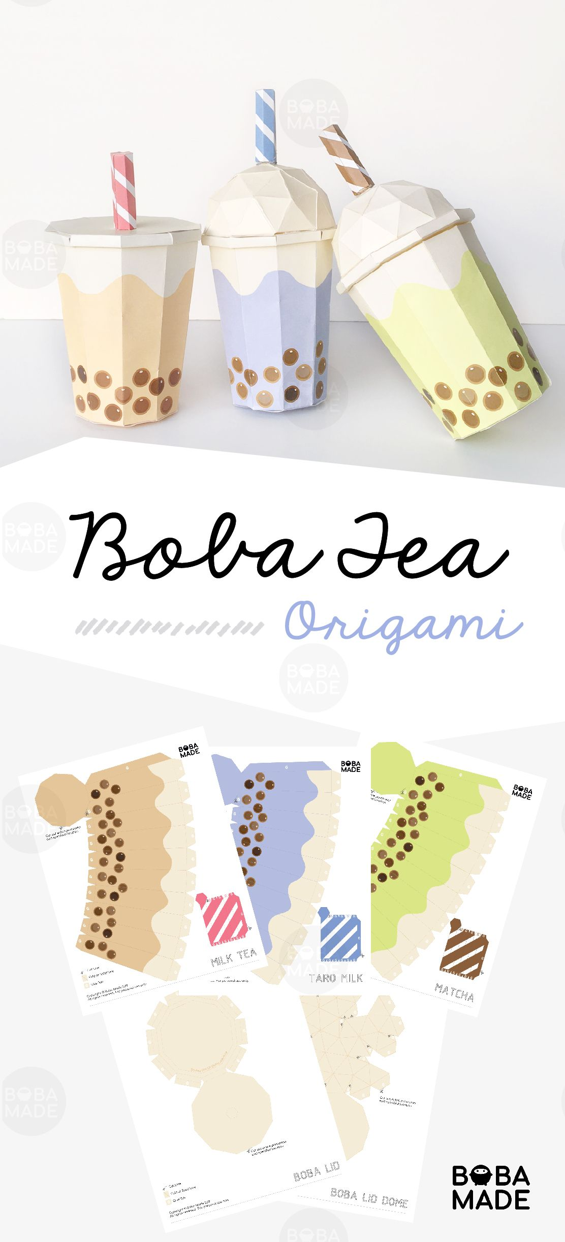 Boba tea origami template full size origami templates
