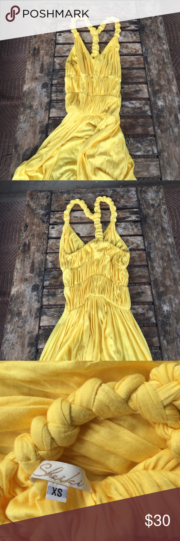 Long yellow maxi dress Unique maxi dress length can be custom to any height. In excellent condition sheiki Dresses Maxi