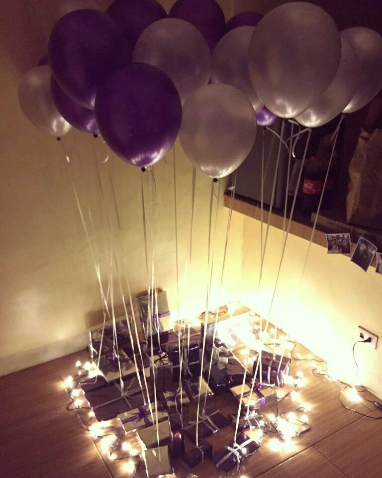 Had A Birthday Surprise For My Boyfriend On His 24th Wrapped 24 Gifts In Silver And Purple Fave Color Boxes Then Tied Them To