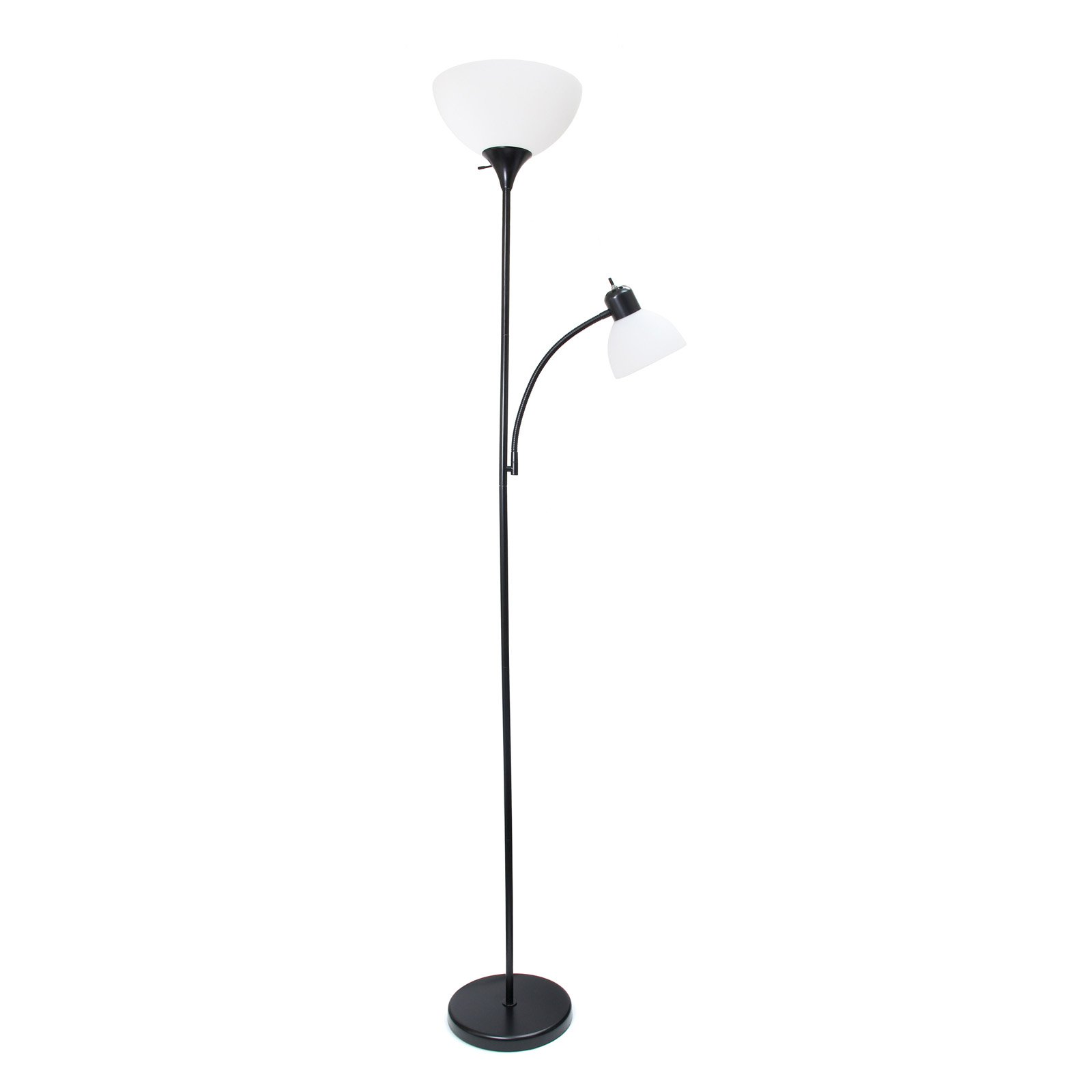 Simple Designs Floor Lamp With Reading Light Floor Lamp Black