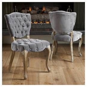 Bates Tufted Charcoal Fabric Dining Chairs