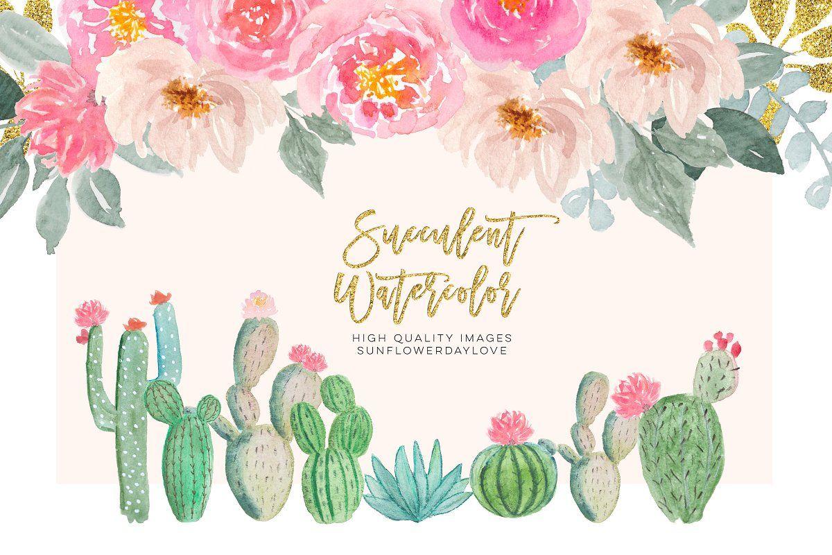 Watercolor Cactus Floral Clip Art Sponsored Prints Logos