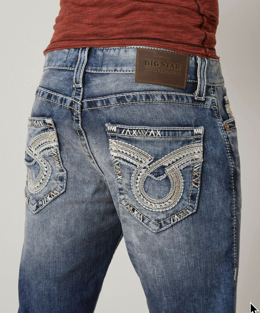Mens Big Star Jeans Mid Rise Pioneer Embroidered Pocket Bootcut 31 32 34 36 38