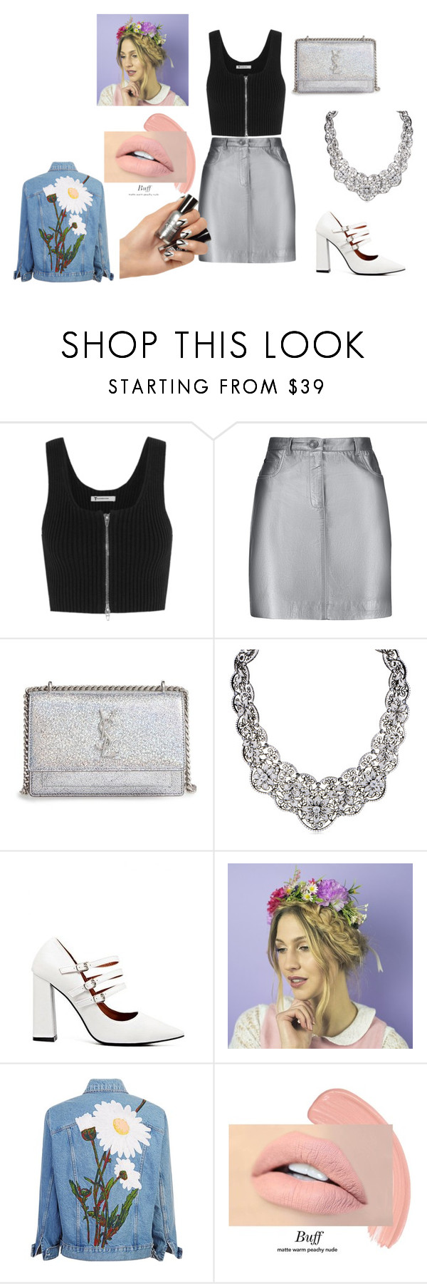 """""""silver is a lot time to shine"""" by sara-fumanti ❤ liked on Polyvore featuring T By Alexander Wang, Pierre Balmain and Yves Saint Laurent"""