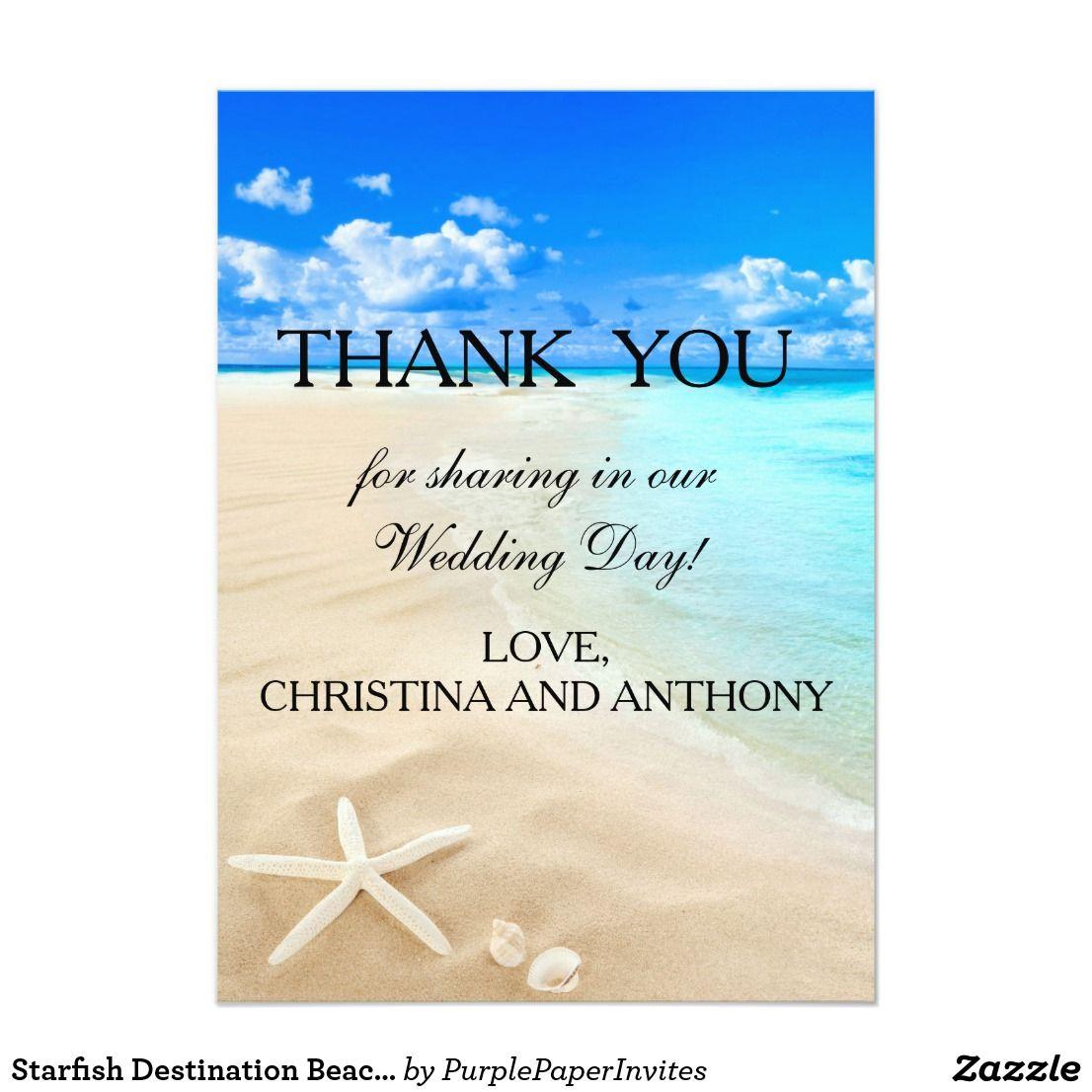 Starfish Destination Beach Wedding Thank You Note