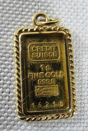 999 9 Fine Gold Credit Suisse 1g Bar In 14k Case Credit Suisse Gold Bar