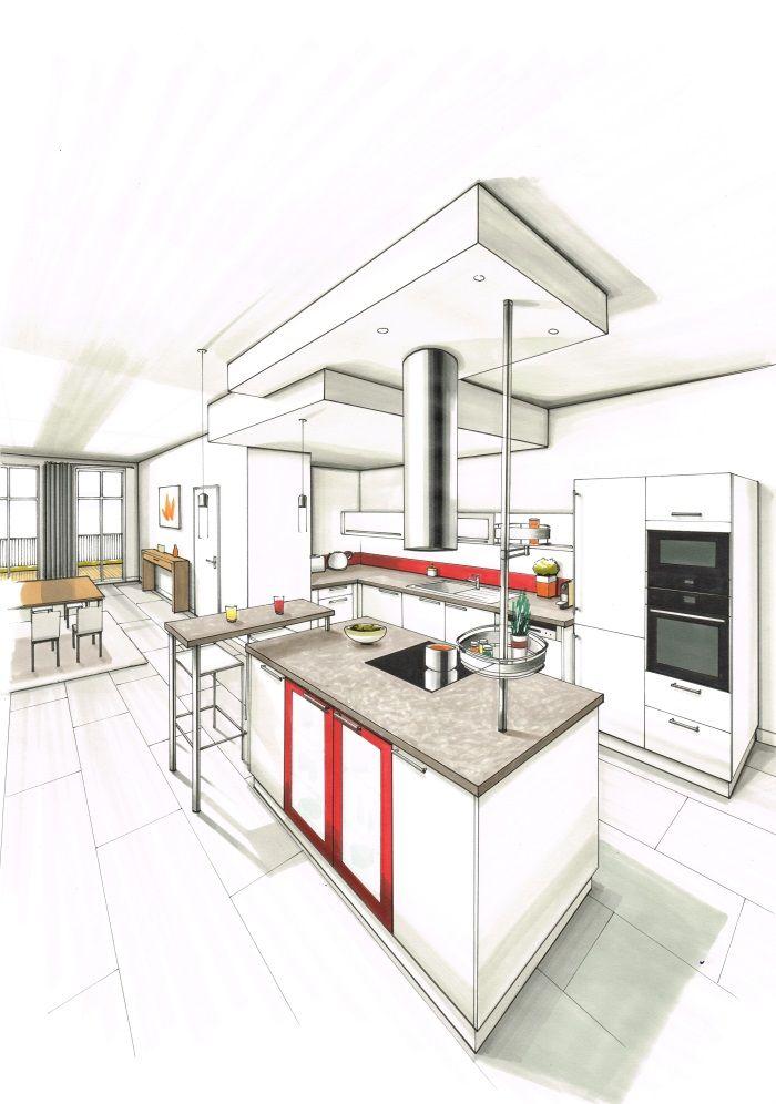 Dessin réalisé aux feutres du0027une cuisine contemporaine, façades - plan de travail cuisine rouge