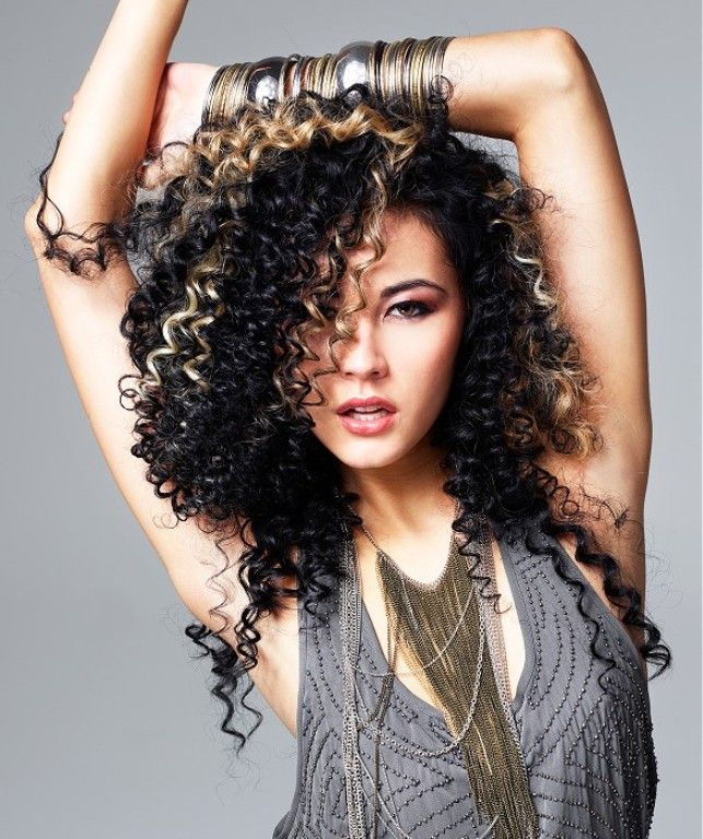 black curly hair with blonde highlights hair color ideas