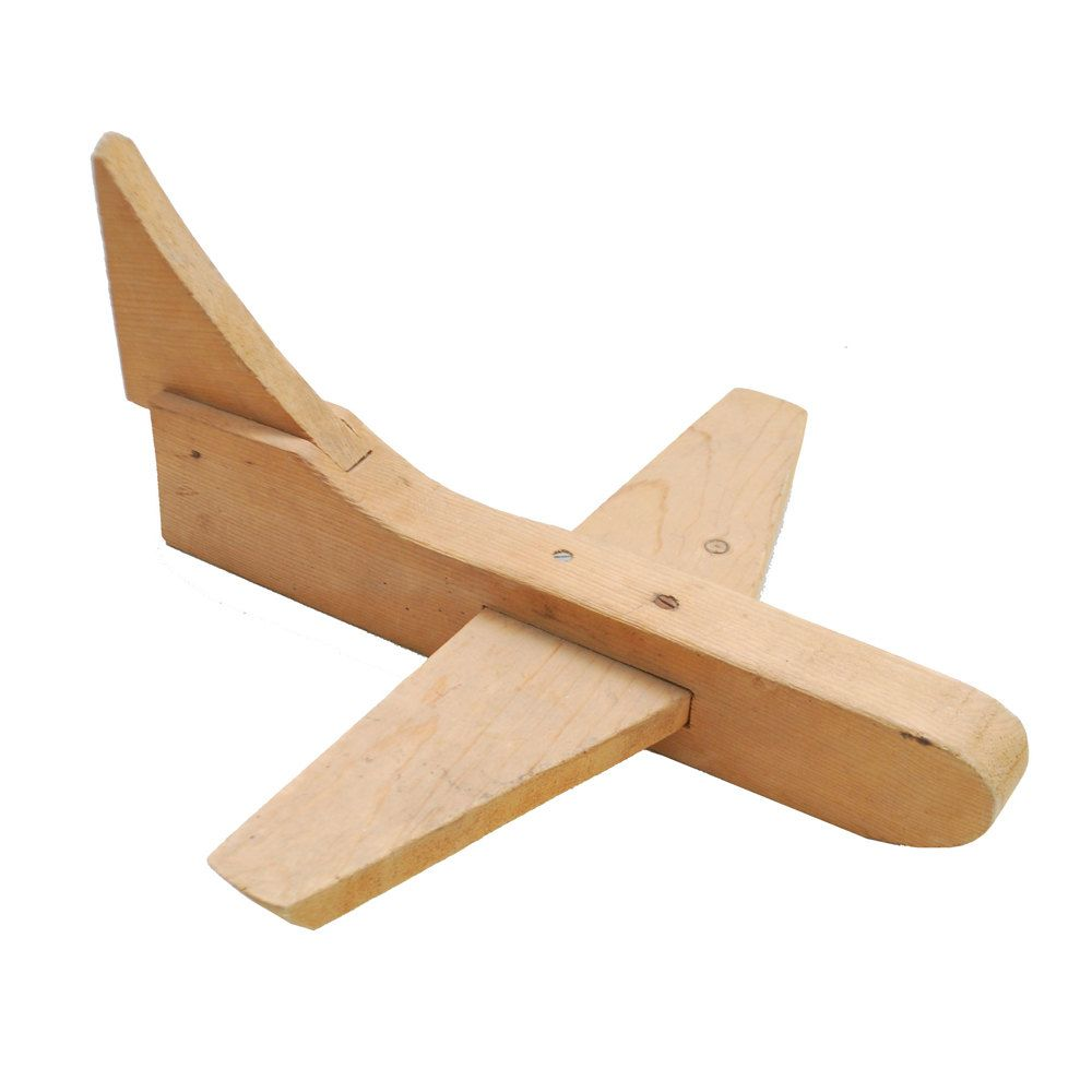 folk art airplane / wooden toy plane / handmade jet. $24.00
