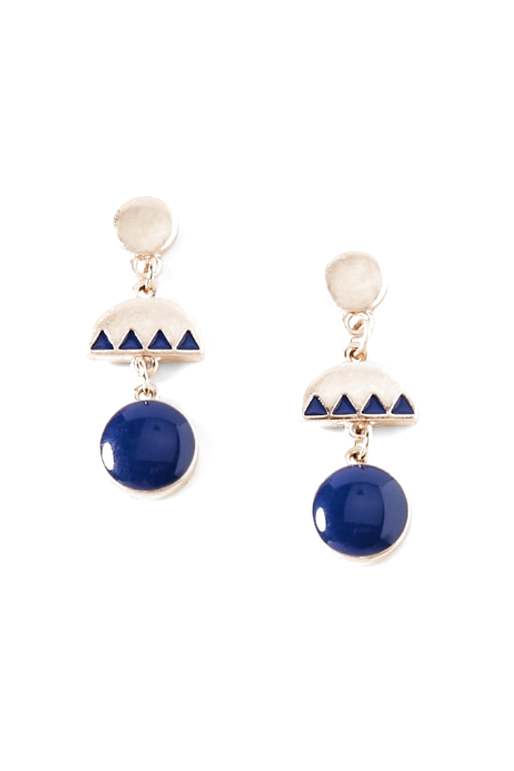 Half-Disc Drop Gold Earrings for Women. Simple and elegant women outfit, casual daytime