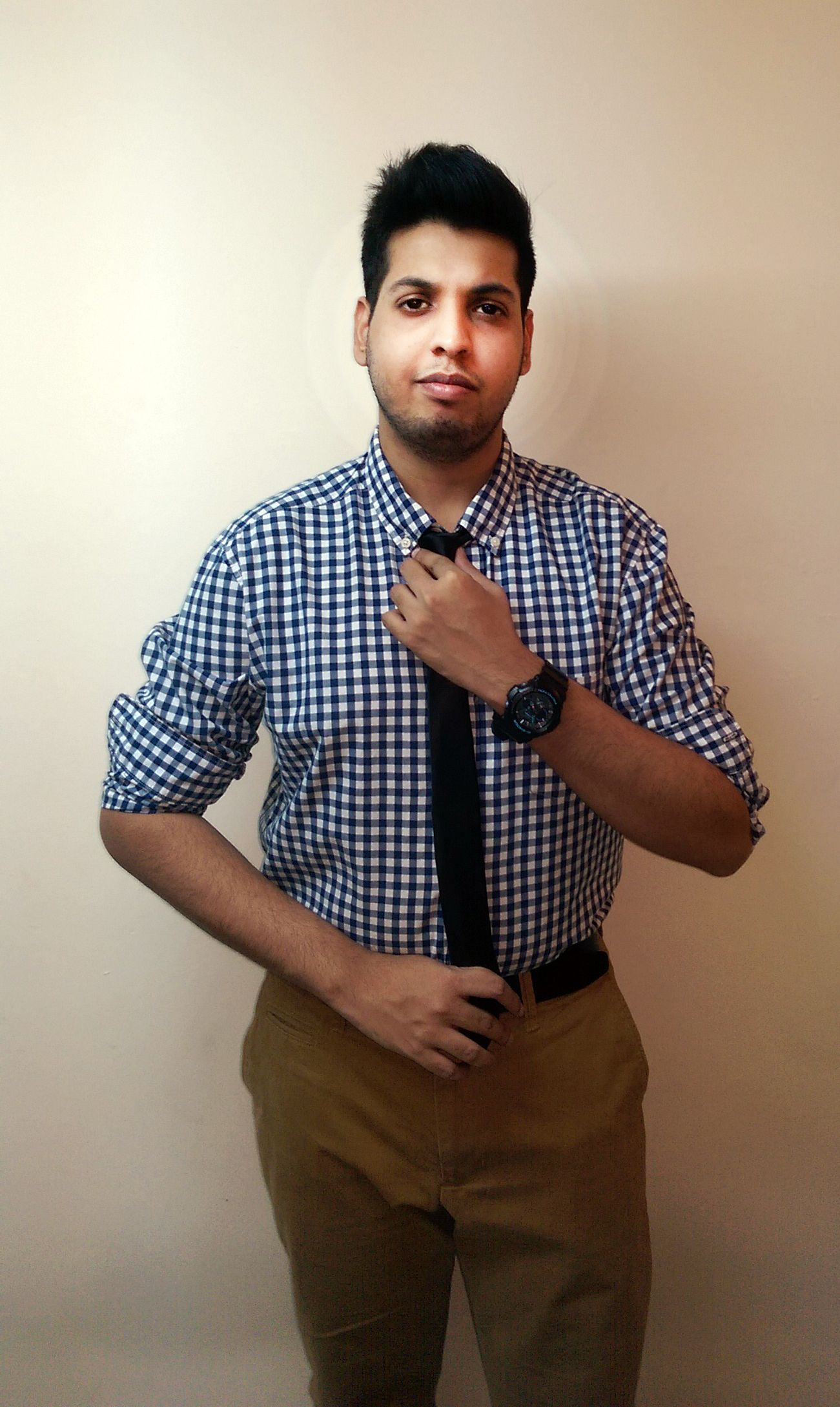 Blue checkered shirt, black tie, black belt, and brown khaki's ...