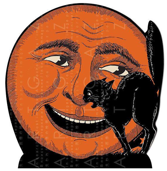 Orange MOON  Black CAT ! Vintage Halloween Decor Die Cut Ornament - halloween decorations vintage