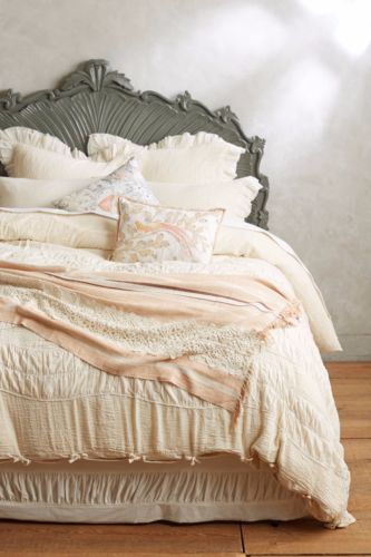 NEW-sz-King-Anthropologie-Toulouse-Duvet-crinkled-ruched-cotton-bedding-248