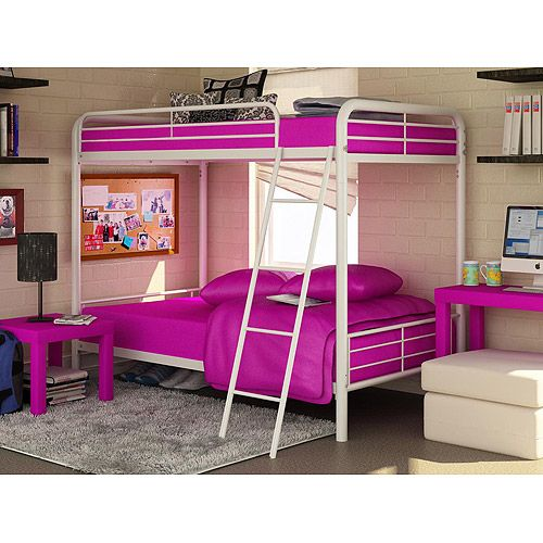 Dorel Twin Over Twin Metal Bunk Bed White Kids 39 Teen Rooms Wish List
