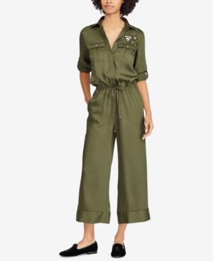 f1514090286 Lauren Ralph Lauren Twill Jumpsuit - Admiral Green 0