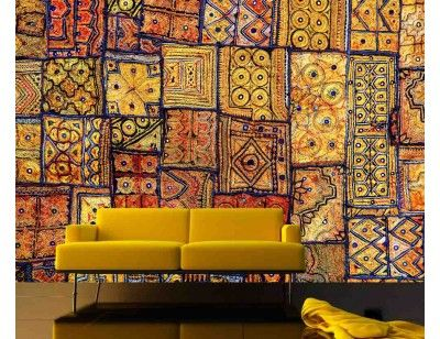 our mural indian patchwork carpet a wallpaper mural from deco ideas our. Black Bedroom Furniture Sets. Home Design Ideas