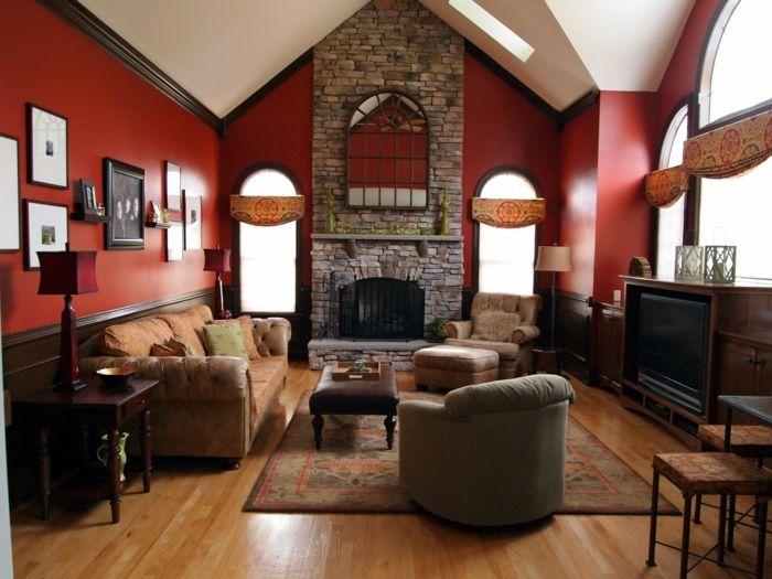 ▷ 1001 + Ideen Für Steinwand Wohnzimmer Zum Inspirieren | Einrichtungsideen  | Pinterest | Steinwand Wohnzimmer, Steinwand Und Roten Wände