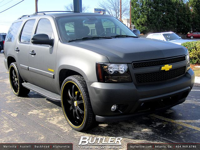 Chevy Tahoe with 26in Lexani LX9 Wheels Flat Black Wrap  Chevy