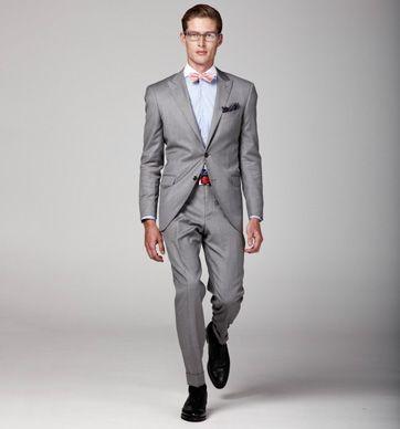 Hackett Mayfair wool suit in grey | Silk dot handkerchief in navy ...