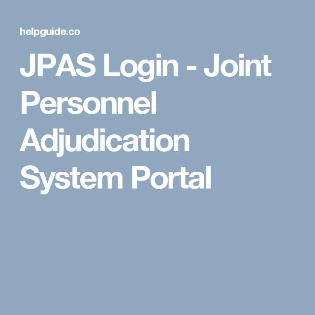 Jpas Login Joint Personnel Adjudication System Portal Portal Joint System