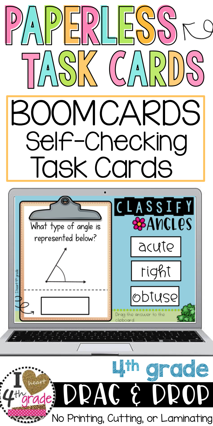 Boom Cards Classify Angles Geometry worksheets, 4th