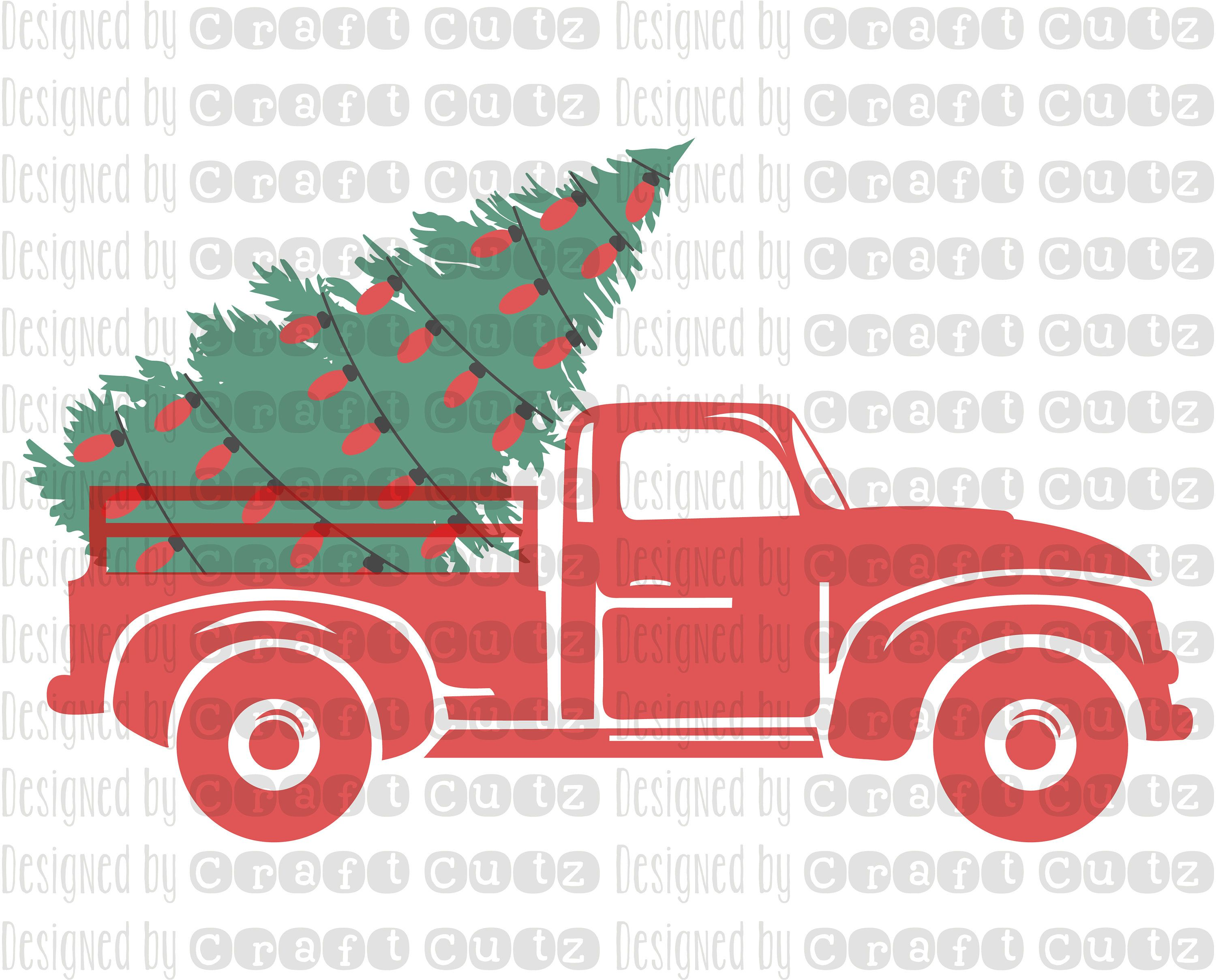 Christmas Tree Farm Truck with lights, Old Truck SVG