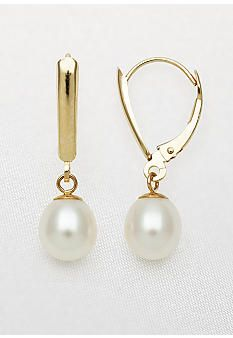 Yellow Gold Freshwater Pearl Leverback Dangle Earrings Belk Accessories